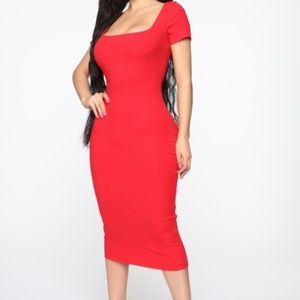 Stretch Red Midi Body Con Dress Size Large